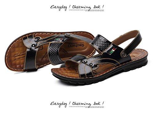 estate vera pelle sandali traspirante Tempo libero Spiaggia scarpa sandali Uomini Tempo libero scarpa ,nero,US=8,UK=7.5,EU=41 1/3,CN=42