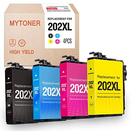 Mytoner Remanufactured Ink Cartridge Replacement for Epson 202XL T202XL 202 T202 High Yield Ink for Workforce WF-2860 WF2860 Home XP-5100 XP5100 Printer(Black, Cyan, Magenta, Yellow, 4pk)