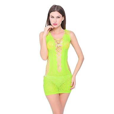 DressLksnf Lencería Gasa Moda Mujer Sujetador con Lace Transparente Elegante Ropa de Noche Interior Romántico Braga Liga Atractiva Pijama de Dormir Cordón ...