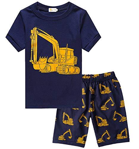 Toddler Boys Novelty Pajamas Sleepwear Excavator Summer Clothes Shirt Pant Sets for Size 3 4 T Kids