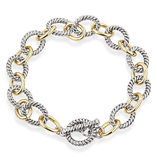 - Mytys 2-Tone Circles Bracelet Jewelry Gold Cable Wire Bangle Bracelets Vintage Valentine for Women