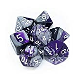 Chessex GeminiT Polyhedral 7-Die Set, Purple/Steel/White