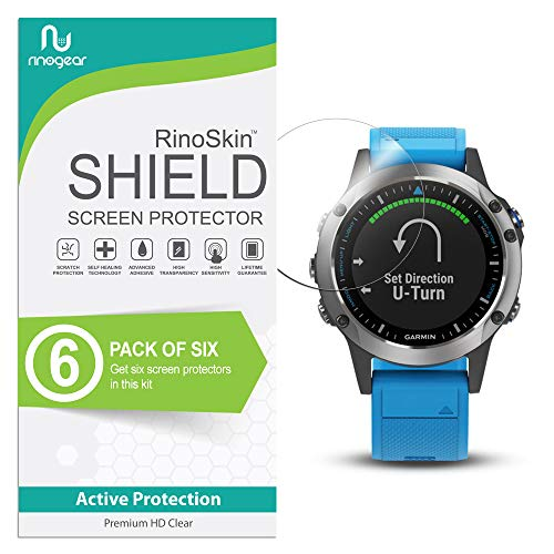 (6-Pack) RinoGear Screen Protector for Garmin Quatix 5 Case Friendly Garmin Quatix 5 Screen Protector Accessory Full Coverage Clear Film