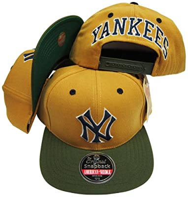 American Needle New York Yankees Gold/Olive Two Tone Plastic Snapback Adjustable Plastic Snap Back Hat/Cap