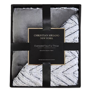 Christian Siriano Chevron Faux Fur Throw Blanket in Grey by Christian Siriano