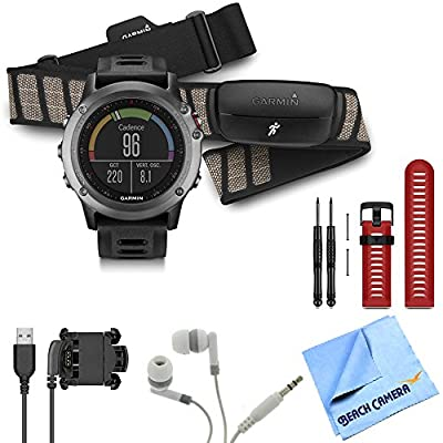 Garmin Fenix 3 Multisport Training GPS Watch with Heart Rate Monitor Red Band Bundle Includes Fenix 3 Gray Watch w/Black Band, HRM-Run Monitor, red Watch Band, Noise Isolation Headphones & More