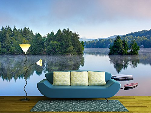 wall26 - a Lake in the Early Morning with Fog on the Water. a Boat and Dock are in the Foreground. - Removable Wall Mural | Self-adhesive Large Wallpaper - (Solitude Wallpaper)