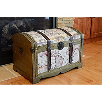 Amazon vintiquewisetm old world map wooden trunkbox set of 2 victorian ancient world map wooden trunk wood treasure chest medium gumiabroncs Gallery