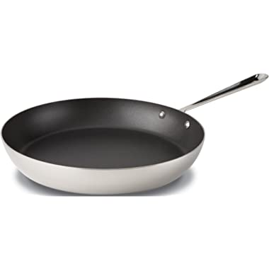 All-Clad 4113 NS R2 Stainless Steel Tri-Ply Bonded Dishwasher Safe PFOA-free Nonstick French Skillet / Cookware, 13-Inch, Silver