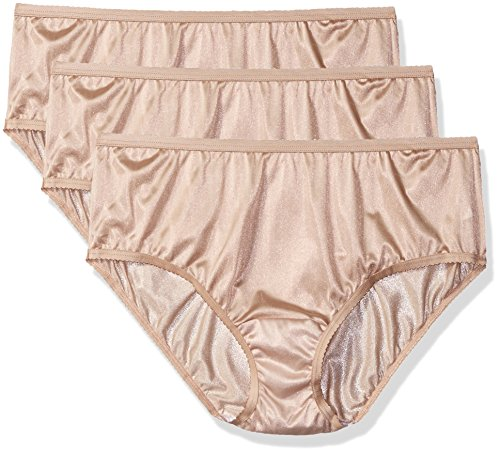 Shadowline Women's Plus Size Panties-Nylon Hipster (3 Pack), Nude, 10