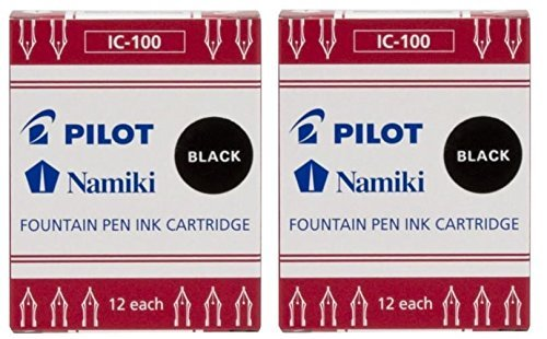 Pilot Namiki IC100 Fountain Pen Ink Cartridge, Black, 12 Cartridges per Pack (Pack of 2)