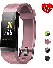 Lintelek Fitness Armband,Fitness Tracker mit Pulsmesser 0,96 Zoll Farbdisplay Fitness Uhr Armband Uhr Schlafmonitor Aktivitätstracker 14 Trainingsmodi Vibrationsalarm GPS für Damen Herren MEHRWEG