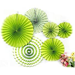 Ovee Lando Green Fans Party Supplies Wedding decor Set of 6