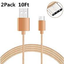 USB Type C-C Cable, NOKEA Braided Micro USB 2.0 Type C (USB-C) to Type C, for New Macbook 12'', Chromebook Pixel, Nexus 5/ 6p, OnePlus 2, Nokia N1, Lumia 950/ 950XL and more (Gold 2P3M)