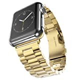Apple Watch Band,Hoco Solid Stainless Steel Metal Apple Watch Strap Unique Polishing Process Business with Double Button Folding Clasp for Apple Watch (38mm Gold)
