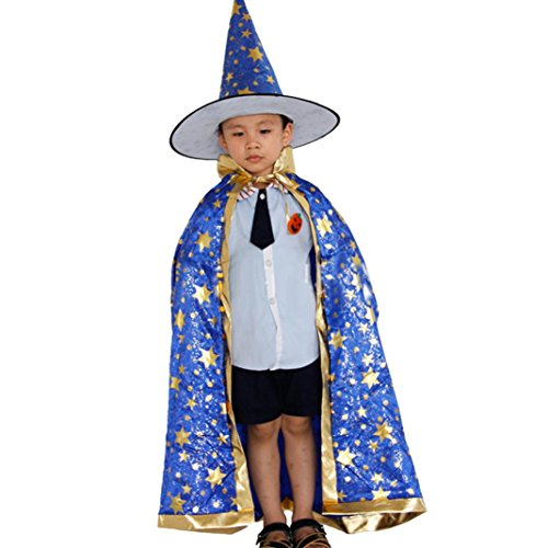 DKmagic Childrens' Halloween Costume Wizard Witch Cloak Cape Robe and Hat for Boy Girl (Blue) - Female Village People Costumes