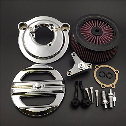 XKMT Group Motorcycle Chrome Skull Grille Air Cleaner Intake Filter System Kit For Harley Davidson 2007-later XL Sportster 1200 Nightster 883 XL883 Low XL1200L Seventy Two Forty (Skull Air Cleaner Kit)