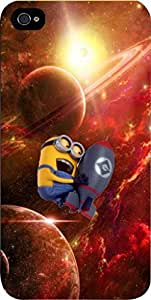 Minion in Outer Space- Hard Black Plastic Snap - On Case -Apple Iphone 6 Plus ONLY- Great Quality!