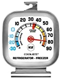 Cook Rite, 90302, Refrigerator/Freezer Thermometer, Stainless Steel