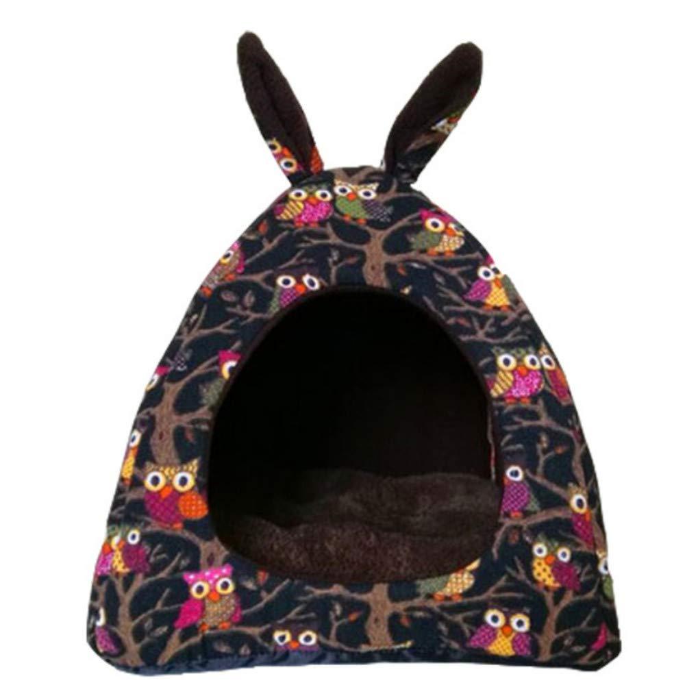 M Wuwenw Pet Bedcute Soft Kennel Yurt Style Warm Nest Pet Four Seasons Anti-Pollution Tent Room,M