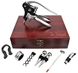 The Vineyard Wine Opener Gift Set — Deluxe 9 Piece Wine Tool Set Includes: Rabbit Corkscrew Opener, Wine Stoppers, Corkscrews, Thermometer, Foil Cutter, Aerator, and Drip Ring