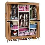 HHAiNi Portable Triple Bold Clothes Wardrobe Storage Steel Hanger Closet Armoire