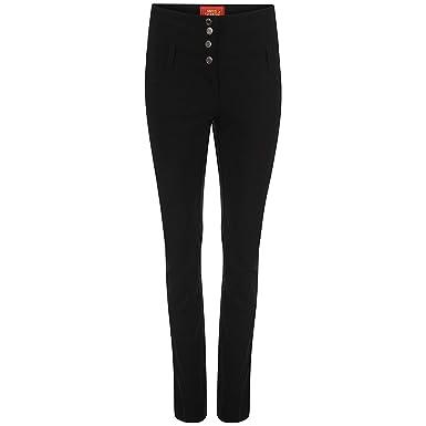 c8462a9c60 Ladies Black High Waist Trousers Good Quality School Work Stretch SUPER SKINNY  Pants 6 - 14: Amazon.co.uk: Clothing