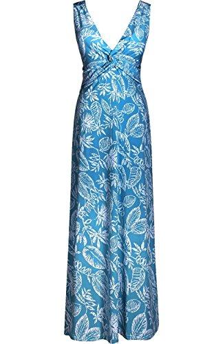 2LUV Women's Sleeveless Knotted Empire Waist V-Neck Tropical Print Summer Maxi Resort Dress Blue (Empire Sleeveless)