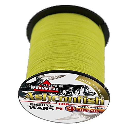 Ashconfish Braided Fishing Line-4 Strands Super Strong PE Fishing Wire 500M/546Yards Multifilament Fishing String Ultra Power Heavy Tensile for Saltwater & Freshwater Fishing 100LB-Yellow
