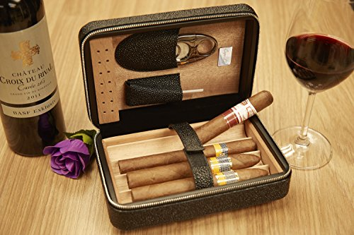 Capo Lily Cigar Humidor, Travel Portable Case with Cutter, PU Leather Wooden Box for 4 Cigars by Capo Lily (Image #2)
