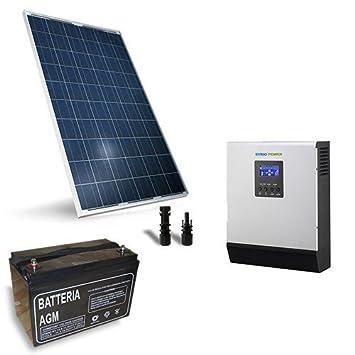 Kit Solar Rifugio Pro 200W 12V Placa Solar Panel Inversor Regulador Batteria MC4: Amazon.es: Jardín