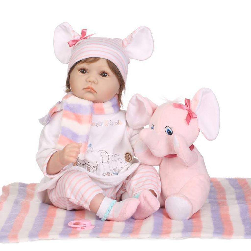 Lifelike Baby Doll Lucoo Surprise Baby Reborn Doll Realistic Doll with Clothes Silicone 22'' 55cm Weighted Doll Princess Doll Best Playmate Xmas Birthday Gift (Pink) by Lucoo Baby