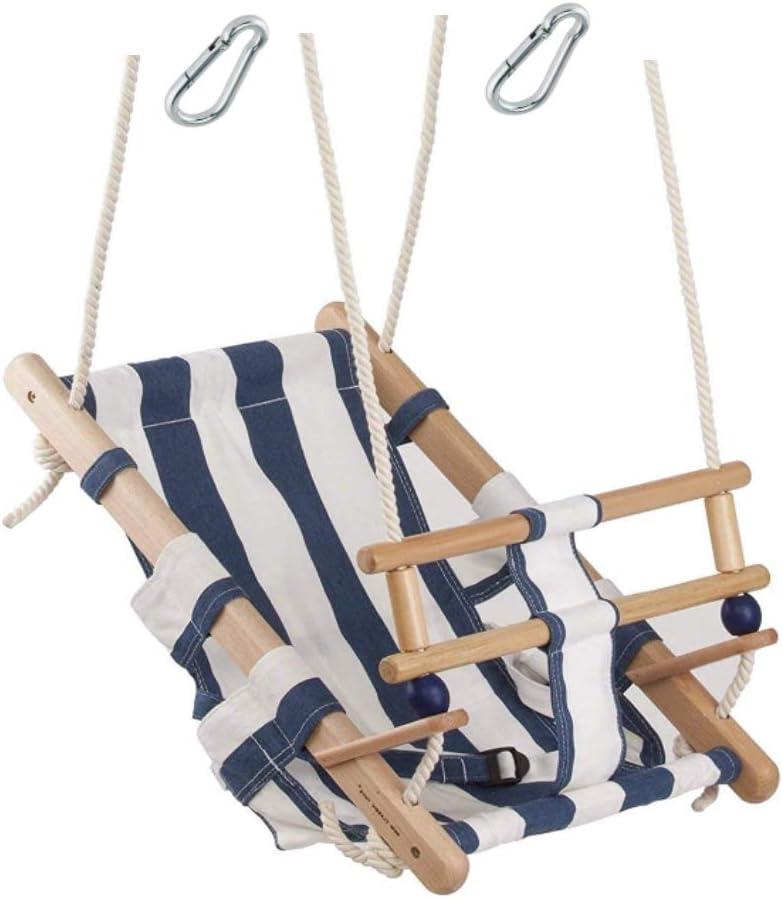 H2i - Columpio de tela para bebé con aspecto marinero con correa de sujeción para interior y exterior y mosquetón para colgar