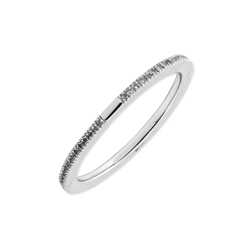 1.5mm Diamond Eternity Band in Sterling Silver - Size 8