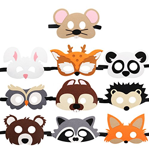 CiyvoLyeen Forest-Friends Animals Felt Masks 10 pcs Woodland Creatures Animal Cosplay Zoo Camping Themed Party Favors Supplies for Kids Boys or Girls -