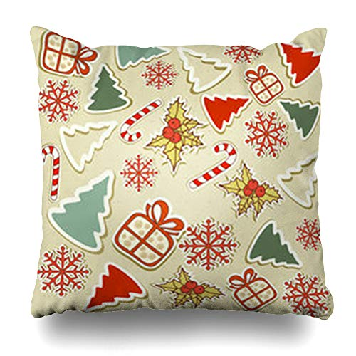 Ahawoso Throw Pillow Cover Pillowcase Starlet Pattern Christmas Holidays Hanging Graphic House Fun Retro Winter Stocking Zippered Square Size 16 x 16 Inches Home Decor Cushion Case