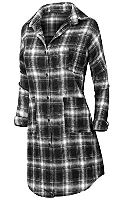 Howels Women Drop Shoulder Long Shirt Checkered Hi-low Hemline Oversized Duster