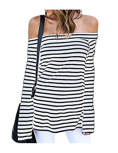 Striped Open Neck Shirt (LuckyMore Women's Striped Long Sleeve Open Shoulder Casual T-Shirt Blouse Tops (S,White))