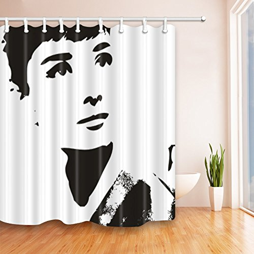 (Audrey Hepburn Shower Curtain Black White Creative Elegant Classic Simple Personality Movie Star 70 x 70 Inch Home Waterproof Bathroom Accessories Hanging Curtains)