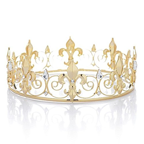 Gold Tone Crown (Janefashions Teen's Boy's Full Round King Crown Rhinestone Crystal Hair Tiara Hat Costume C900 (Gold-Tone))