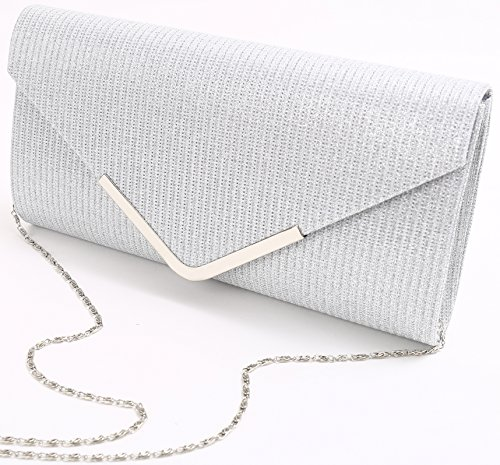 Wedding Party Glitter Evening Clutch Pulama Silver and Bag Envelope For Az07U1nwqx