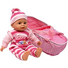 """13"""" Soft Body Baby Doll - with Take Along Pink Doll Bassinet Carrier, Doll Plays 3 Different Baby Sounds and Comes Dressed in an Adorable Outfit with Matching Hat"""