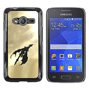 TopCaseStore / la caja del caucho duro de la cubierta de protección de la piel - Dragon Flying Art Sky Sunshine Light Black - Samsung Galaxy Ace 4 G313 SM-G313F