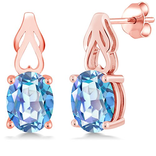 Mm Rose Quartz Necklace - 3.60 Ct Oval Millennium Blue Mystic Quartz 18K Rose Gold Plated Silver Earrings