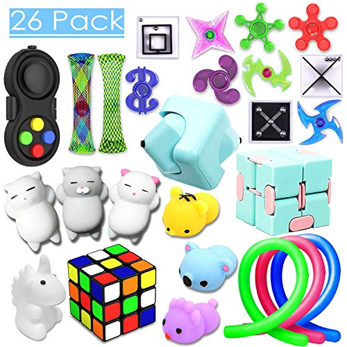 26 Pack Sensory Toys Set, Relieves Stress and Anxiety Fidget Toy for Children Adults, Special Toys Assortment for Birthday Party Favors, Classroom Rewards Prizes, Carnival, Piata Goodie Bag Fillers