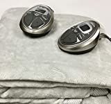 electric auto blanket - Sunbeam Queen Electric Heated Blanket Luxurious Velvet Plush with 2 Digital Controllers and Auto-Off Feature - 5 Year Warranty, Grey (Tech Grey)