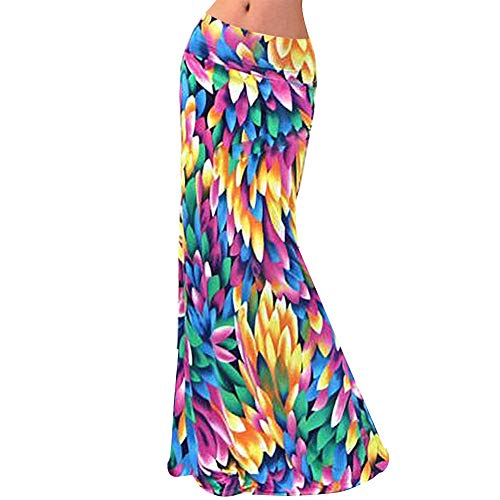 (Aisa Womens Multicolored Printed High Waist Maxi Skirt Summer New Fold Over Beach Long Skirt Dress Size Medium)