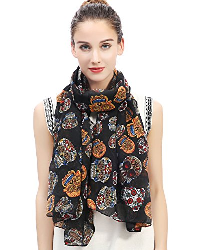 Lina & Lily Day of the Dead Sugar Skull Print Large Scarf Shawl Lightweight (Black)]()