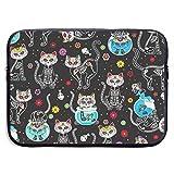 SWAKOJIJI Skull Cat 13/15 Inch Laptop Sleeve Bag for MacBook Air 11 13 15 Pro 13.3 15.4 Portable Zipper Laptop Bag Tablet Bag,Diving Fabric,Waterproof Black