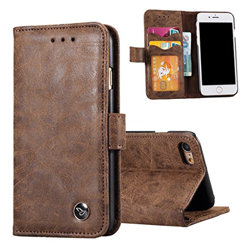 Yamissi Matt Retro Genuine Leather Wallet Case, Real Leather Flip Cover, Stand cases with Magnatic Clip, Card Money Flip Holder Pouch For different - 30 Warehouse Retro